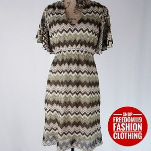 Judith March | Chevron Flutter V Neck Dress (L)